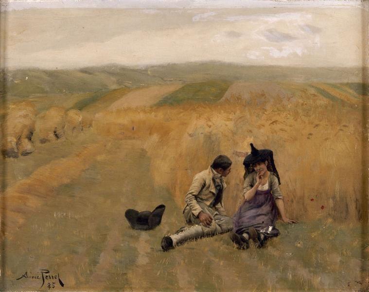 Aimé Perret, L'aveu dans les blés, 1885.