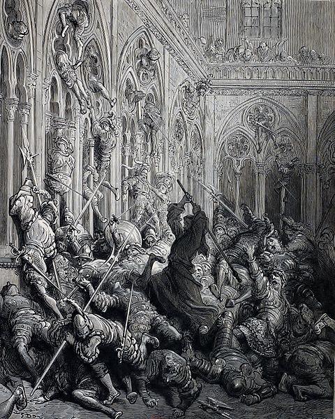 Gustave Doré, peintre, illustrateur, graveur, caricaturiste, auteur de bande dessinée et lithographe français.Frère Jean défend le clos de l'abbaye de Seuilly (anciennement Seuillé) contre l'armée picrocholine. Gravure extraite de l'édition de 1873 de Garnier Frères.