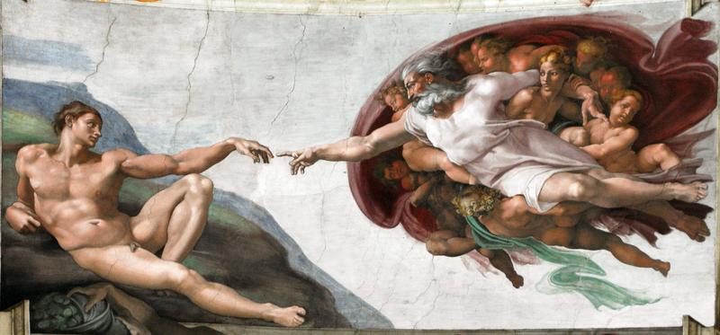 """Michel-Ange, """"la Création de l'Homme"""", fresque, peinture religieuse, réalisée entre 1508 et 1512, Hauteur : 280 cm ; Largeur : 570 cm, chapelle Sixtine, Vatican, Rome, Italie, Europe."""