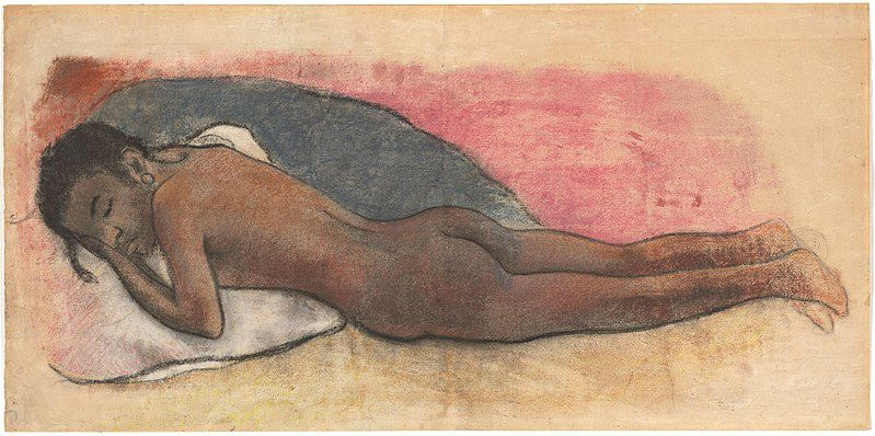 Paul Gauguin, Reclining Nude [recto], French, 1848 - 1903, 1894/1895, charcoal, black chalk, and pastel on laid paper, Gift (Partial and Promised) of Robert and Mercedes Eichholz, in Honor of the 50th Anniversary of the National Gallery of Art (1894-1895)