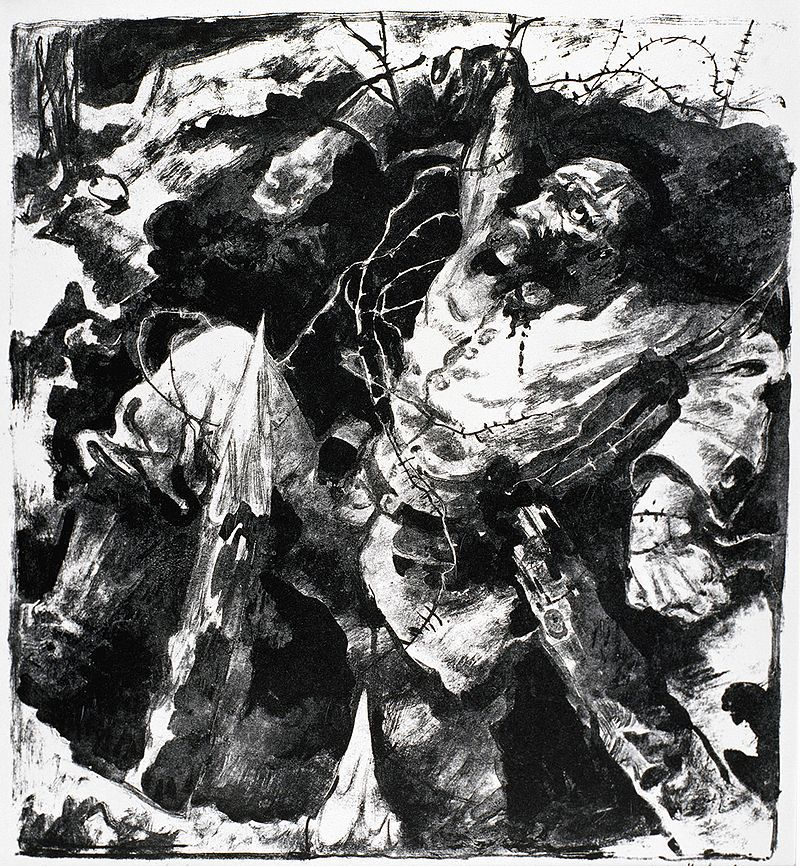 Dying Soldier in a Trench – 1915 painting by Willy Jaeckel
