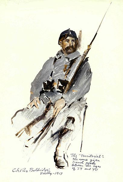 "The ""Territorial""—the name given French poilu between the ages of 34 and 40. Vailly—1917"