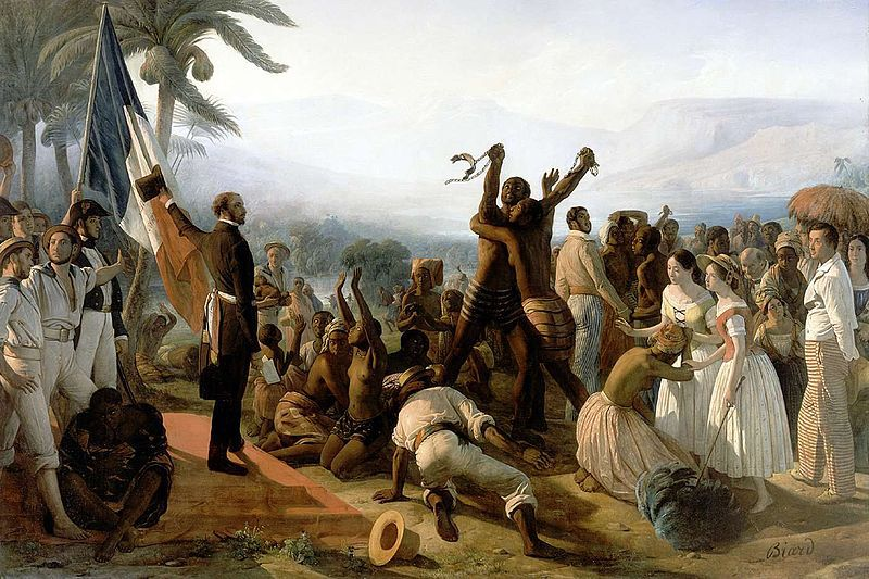 L'Abolition de l'esclavage dans les colonies françaises en 1848 est un tableau du peintre français François-Auguste Biard réalisé en 1848.  Cette huile sur toile de 260 centimètres de haut et 392 centimètres de large1 représente une société coloniale alors qu'y est proclamé le décret du 27 avril 1848 procédant à l'abolition de l'esclavage dans l'Empire français. Elle est conservée au château de Versailles.  On assiste à la scène de l'émancipation du peuple esclaves en 1848 en France. On aperçoit rapidement deux esclaves noirs, au centre, qui s'enlacent et représenté avec des chaînes brisées, image de leur liberté juste acquise. Les autres esclaves, eux, ne sont toujours pas levés mais plutôt agenouillés en adoration envers l'homme qui a déclaré l'abolition de l'esclavage, lequel se tient d