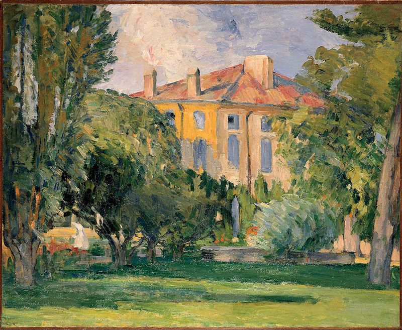 "Paul Cézanne (1839-1906), Bastide du Jas de Bouffan, National Gallery of Art, Washington DC, USA. This is one of the first Provençal paintings in which Cézanne applied the bright palette and free handling he had developed in Paris with Pissarro and the impressionists during the 1870s. The work was most likely executed in the summer of 1874, soon after Cézanne had returned home from Paris. He had written his parents that he hoped his father would finance a long stay at home in Aix: ""I shall be very happy to work in the South, where the views offer so many opportunities for my painting."""