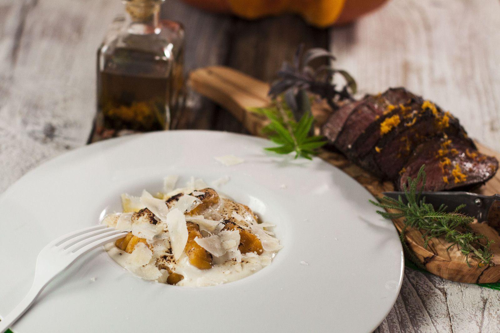 Tagliata de boeuf irlandais en basse température - gratin de gnocchi de potiron