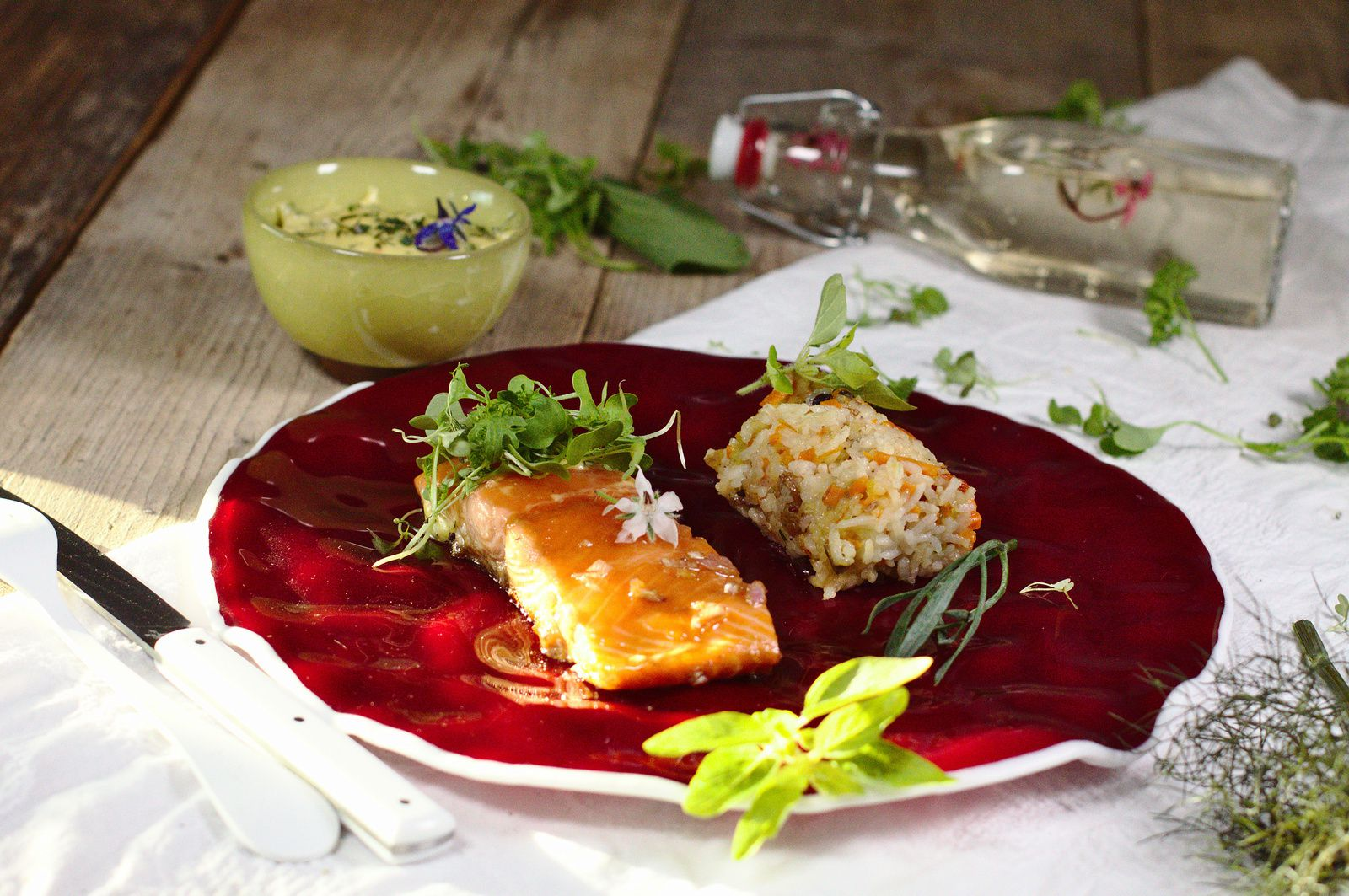 Saumon à l'unilatérale - riz aux fruits secs