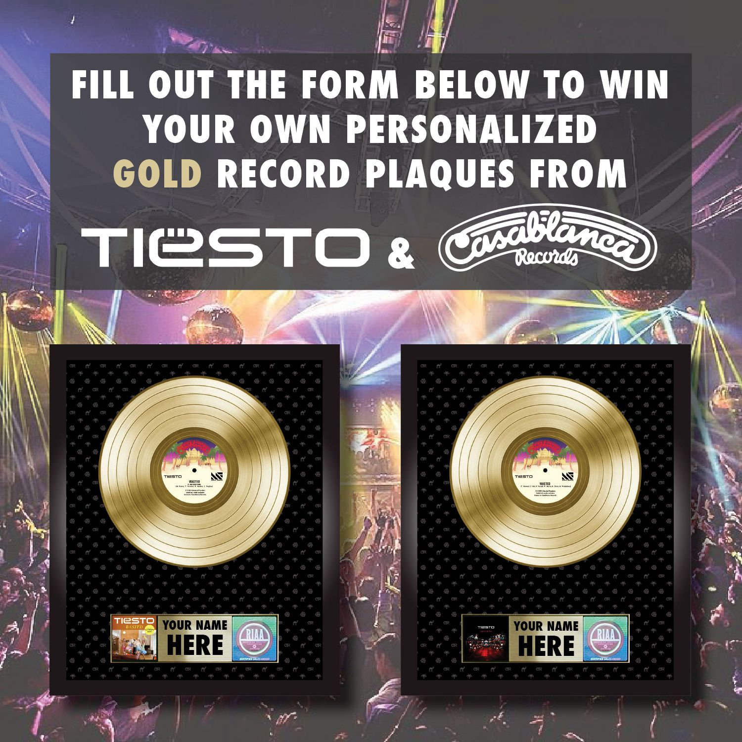 Tiësto - Win your own personalized gold plaque
