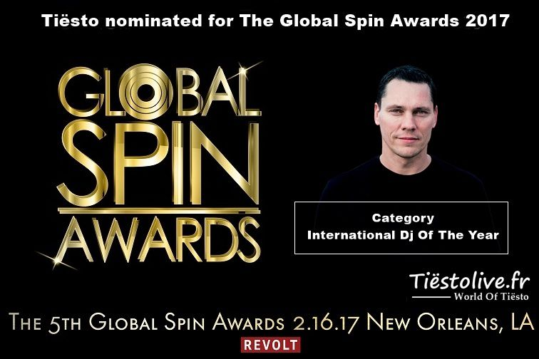 Tiësto nominated for The Global Spin Awards 2017