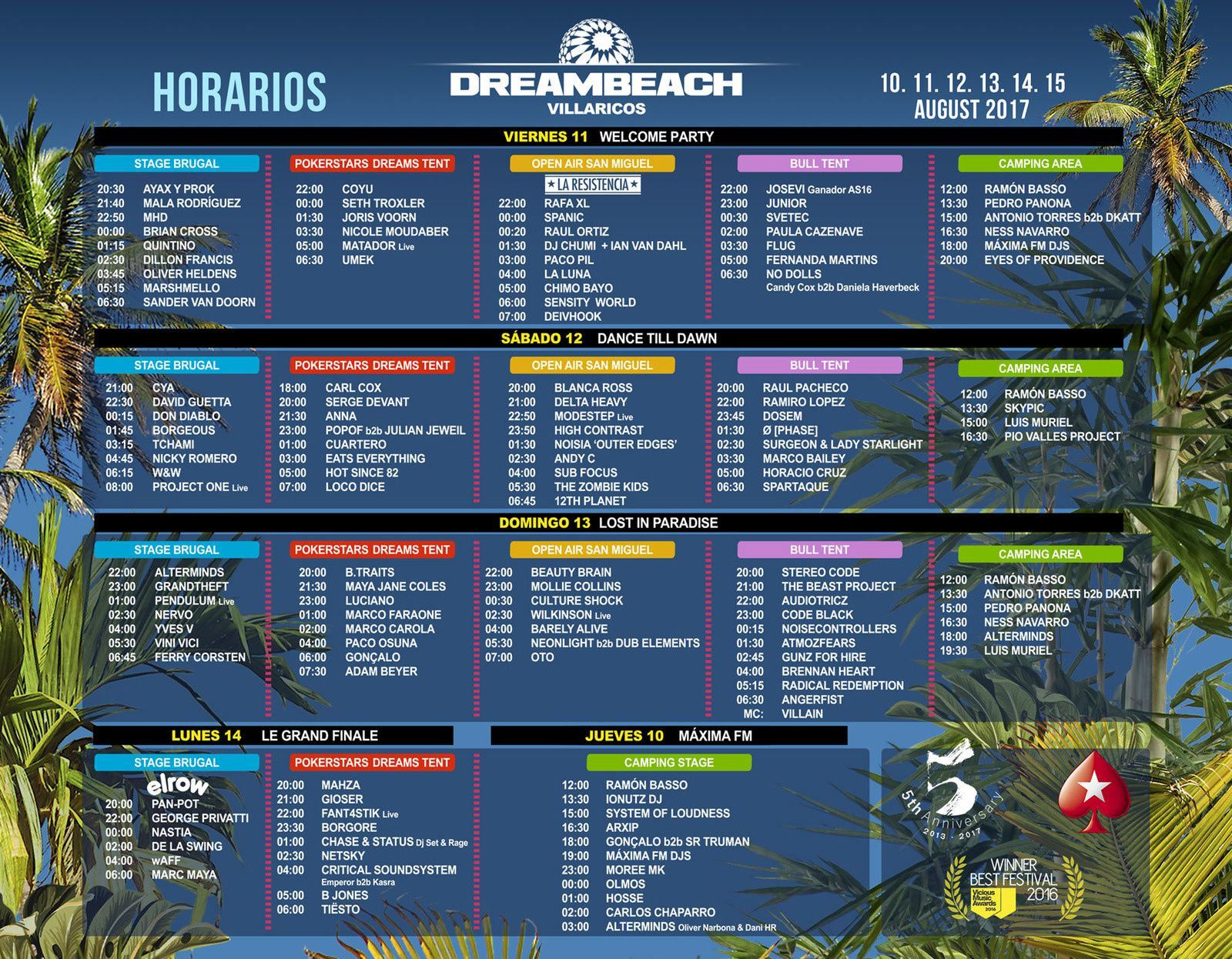 Tiësto date | Dreambeach | Villaricos, Spain - August 14, 2017 | Timetable