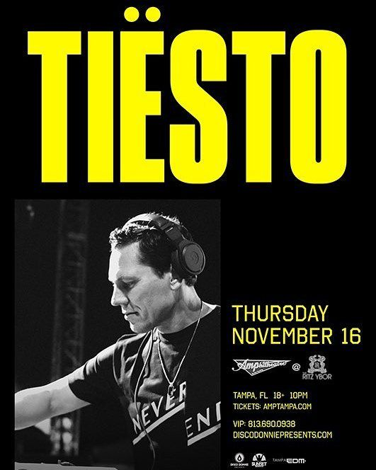 Tiësto date | The RITZ Ybor | Tampa, FL - november 16, 2017