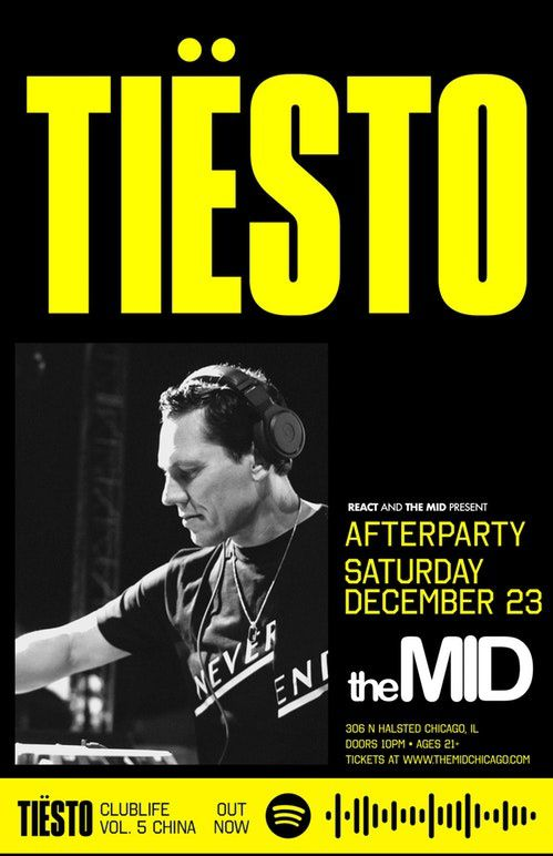 Tiësto date | The MID | Chicago, IL - december 23, 2017