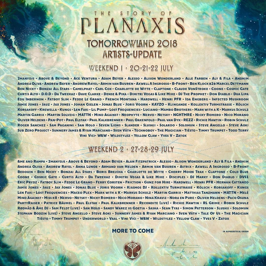Tiësto date | Tomorrowland | Boom, Belgium - July 20/21/22 and 27/28/29 2018 | Line up weekend 1 and 2