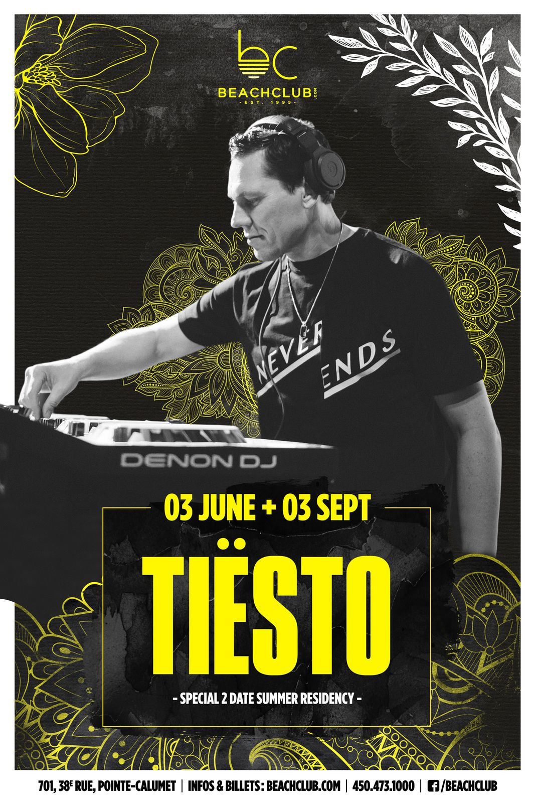 Tiësto date | Beach Club | Pointe-Calumet, QC, Canada - september 03, 2018