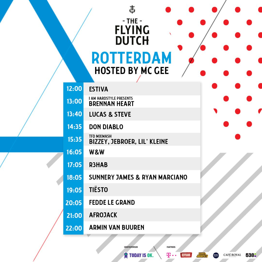 Tiësto date | The Flying Dutch | Rotterdam / Eindhoven / Amsterdam, Netherlands - june 02, 2018 | Set Times Rotterdam