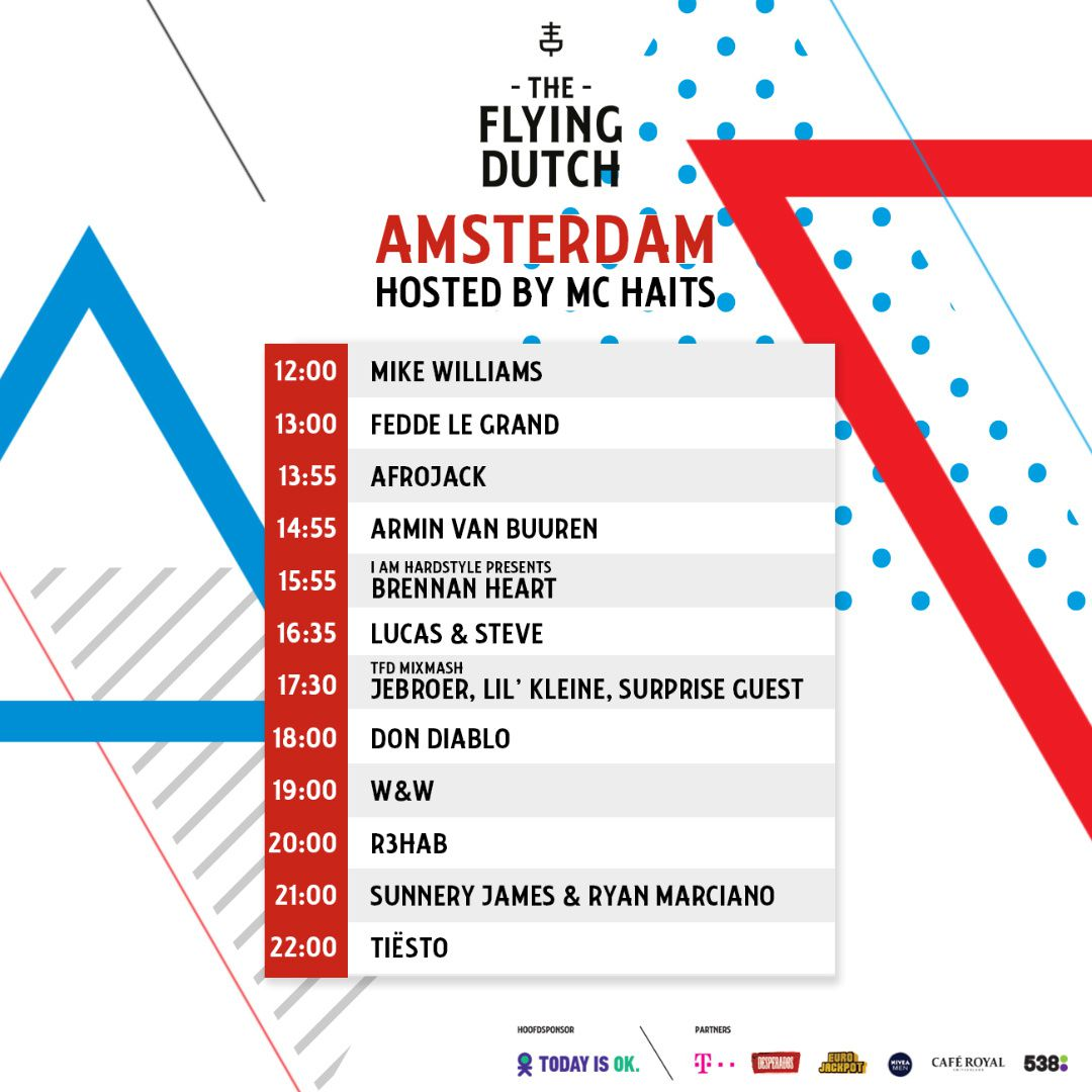 Tiësto date | The Flying Dutch | Rotterdam / Eindhoven / Amsterdam, Netherlands - june 02, 2018 | Set Times Amsterdam
