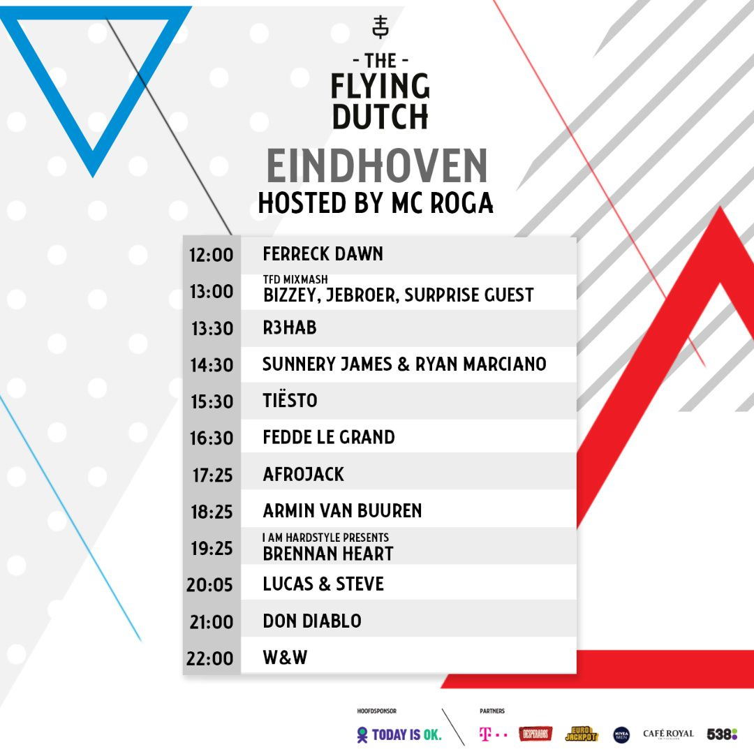 Tiësto date | The Flying Dutch | Rotterdam / Eindhoven / Amsterdam, Netherlands - june 02, 2018 | Set Times Eindhoven