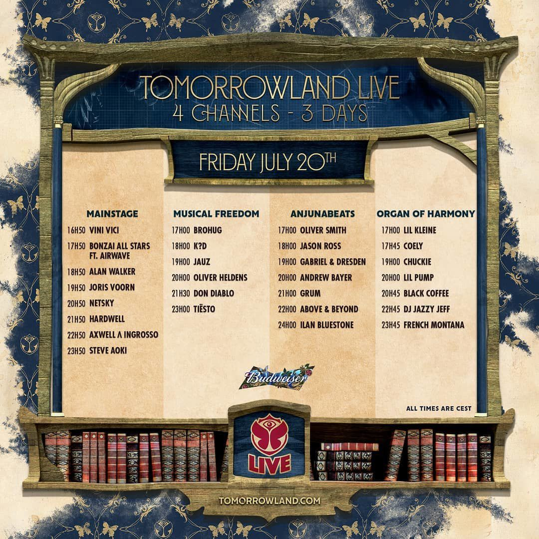 Live Tiësto | Tomorrowland | Boom, Belgium - July 20 and 27, 2018 | Set Times, world time live