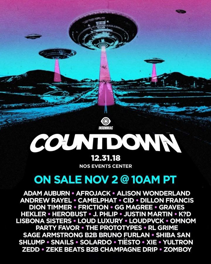 Tiësto date New Year 2019 | Countdown | San Bernardino, CA - December 31, 2018