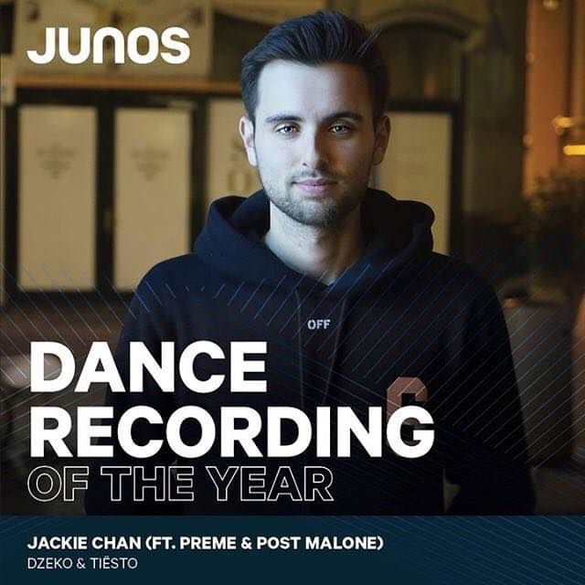 Tiësto & Dzeko are nominated for the JUNO Awards ( Canada ) for Best Dance Recording!