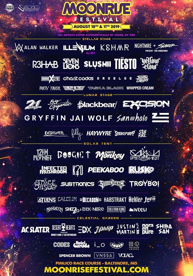 Tiësto date | Moonrise festival | Baltimore, MD - august 10/11, 2019