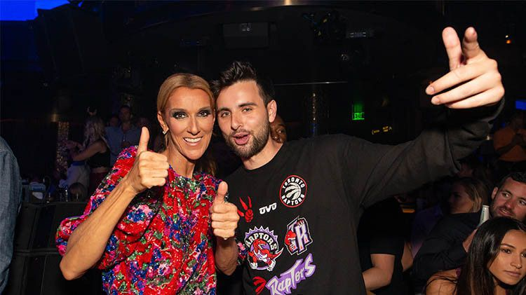 Celine Dion celebrates the end of her Las Vegas show with Tiësto at the Omnia