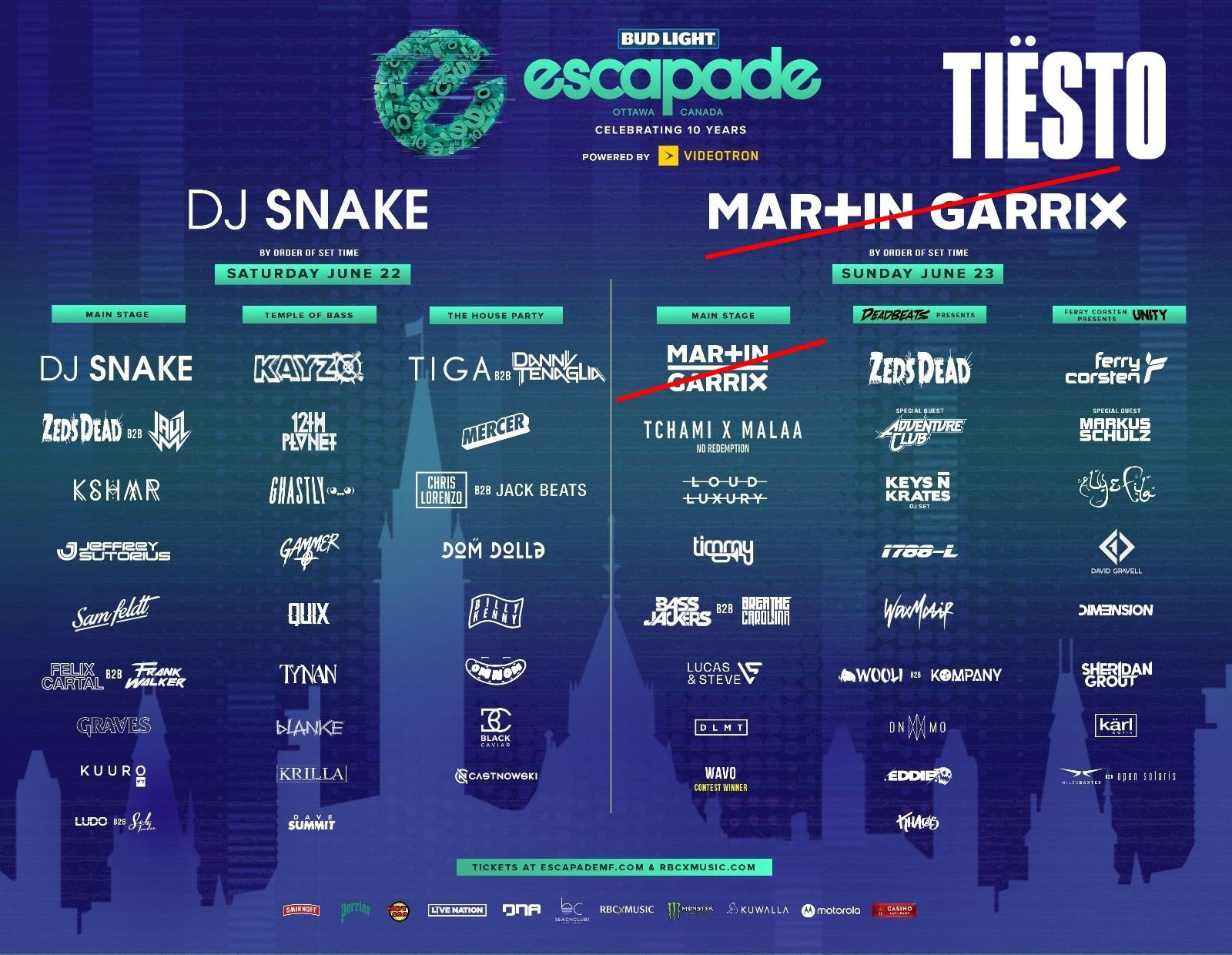 Tiësto photos, vidéos | Escapade Music Festival | Ottawa, Canada - june 23, 2019