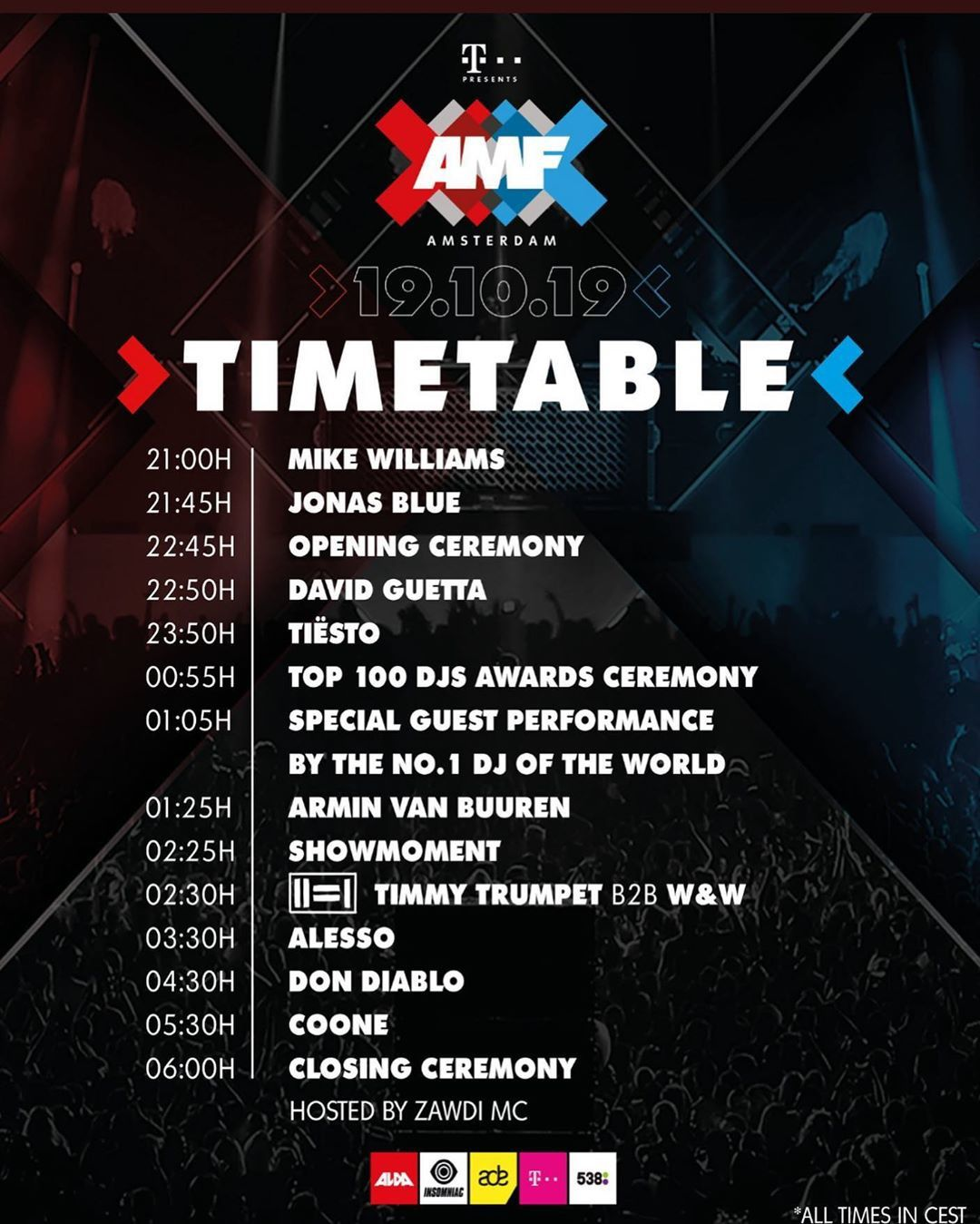 Tiësto date | Amsterdam Music Festival | Amsterdam, Netherlands - October 19, 2019 | Set Times