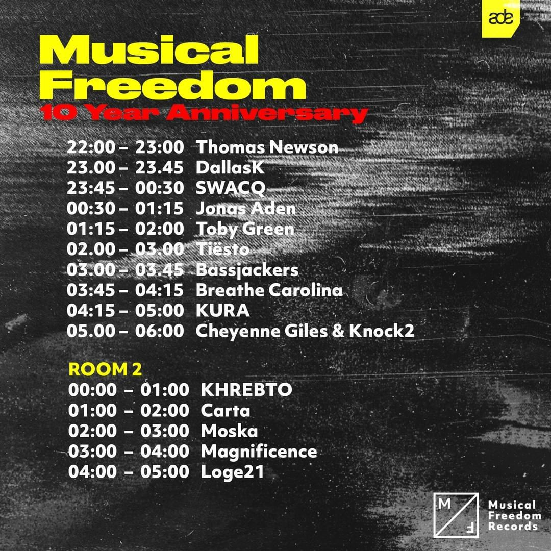 Tiësto date | AIR | Amsterdam, Netherlands - october 17, 2019 | spécial Musical Freedom - 10 Year Anniversary  set times