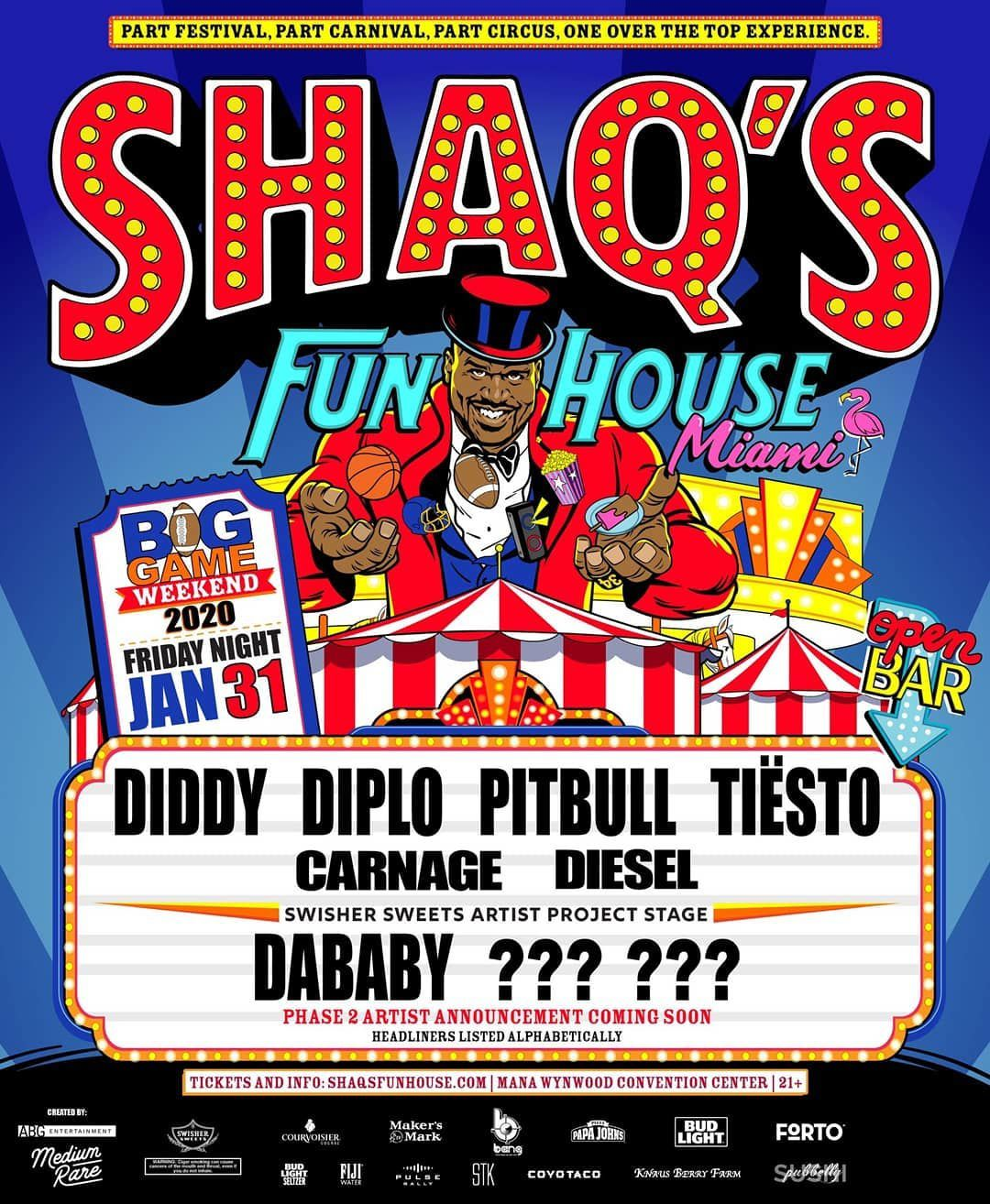 Tiësto date | Shaq' s Fun House | Miami, FL - january 31, 2020
