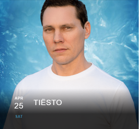Tiësto date | Wet Republic | Las Vegas, NV - april 25, 2020