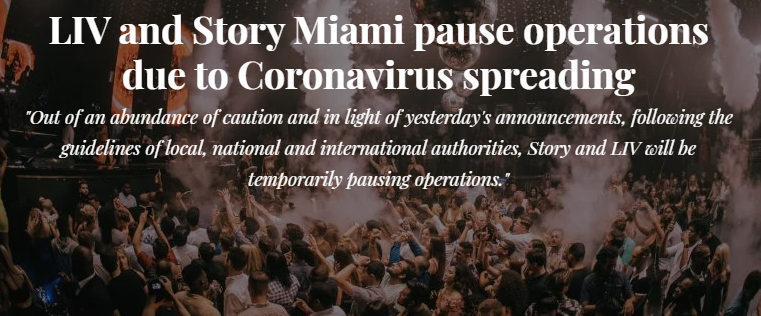 ⚠ Liv and Story of Miami closed due to coronavirus ⚠