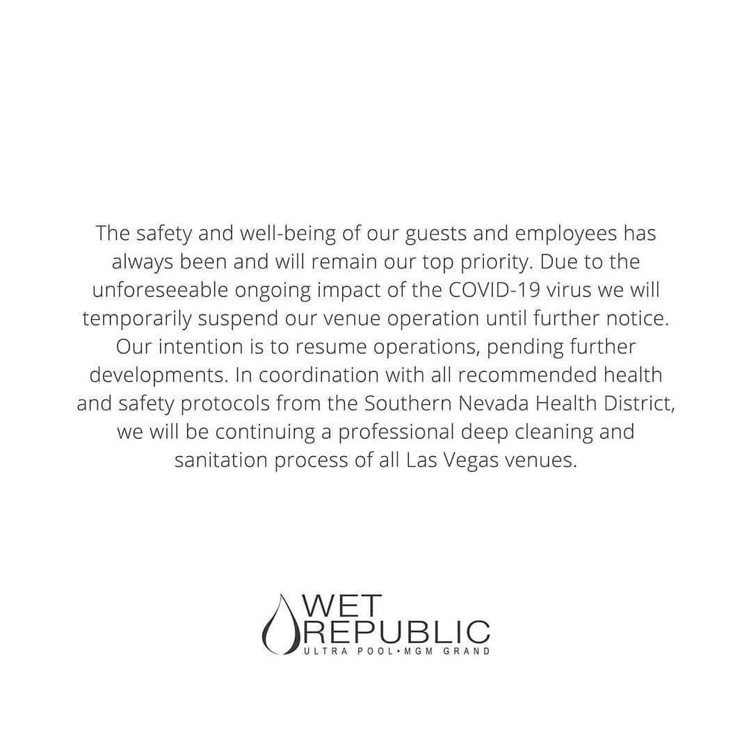 ⚠️ Hakkasan, Omnia & Wet Republic in Las Vegas, temporarily closed due to coronavirus ⚠️