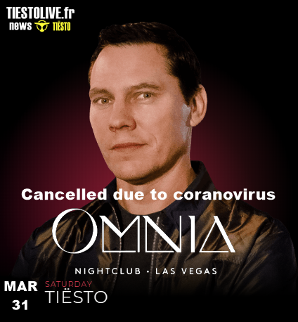 Tiësto date CANCELLED | Omnia | Las Vegas, NV - march 31, 2020