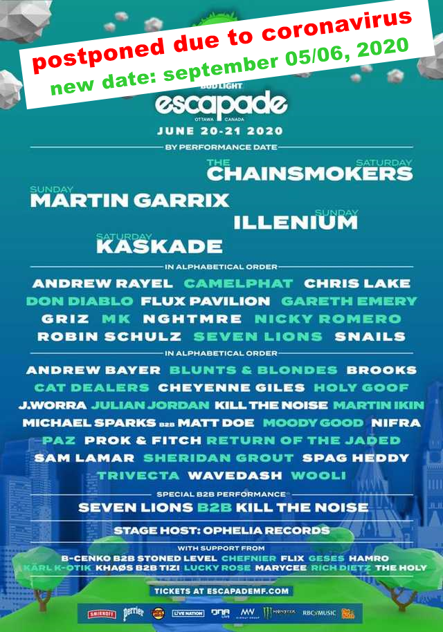 ⚠ Escapade Music Festival - Ottawa, Canada 2020, postponed due to coronavirus ⚠