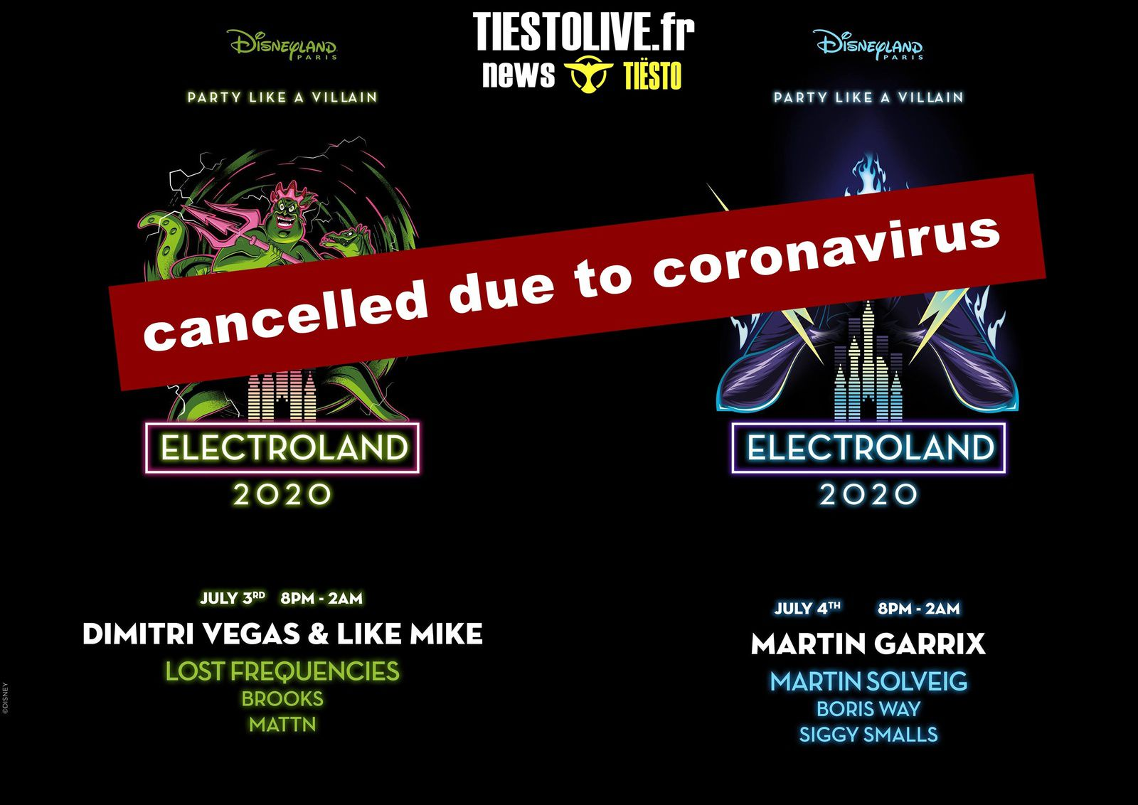 ⚠ Electroland Festival 2020, Disneyland Paris, France, cancelled due to coronavirus ⚠