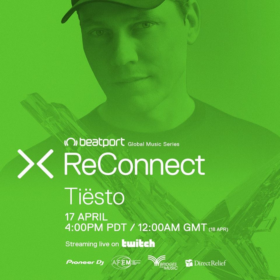 Tiësto, live stream this Friday, April 17