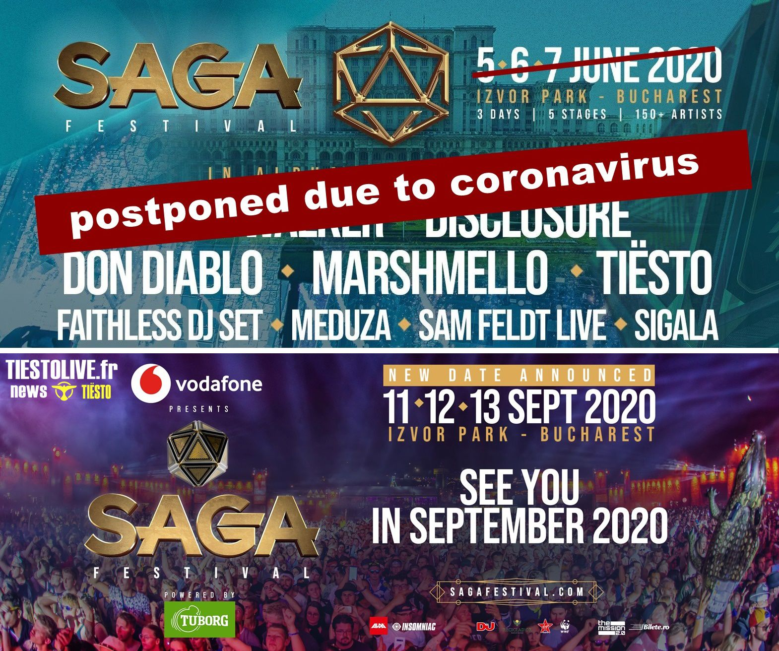 Tiësto date postponed | SAGA Festival | Bucharest, Romania - june 5/7, 2020, new date september