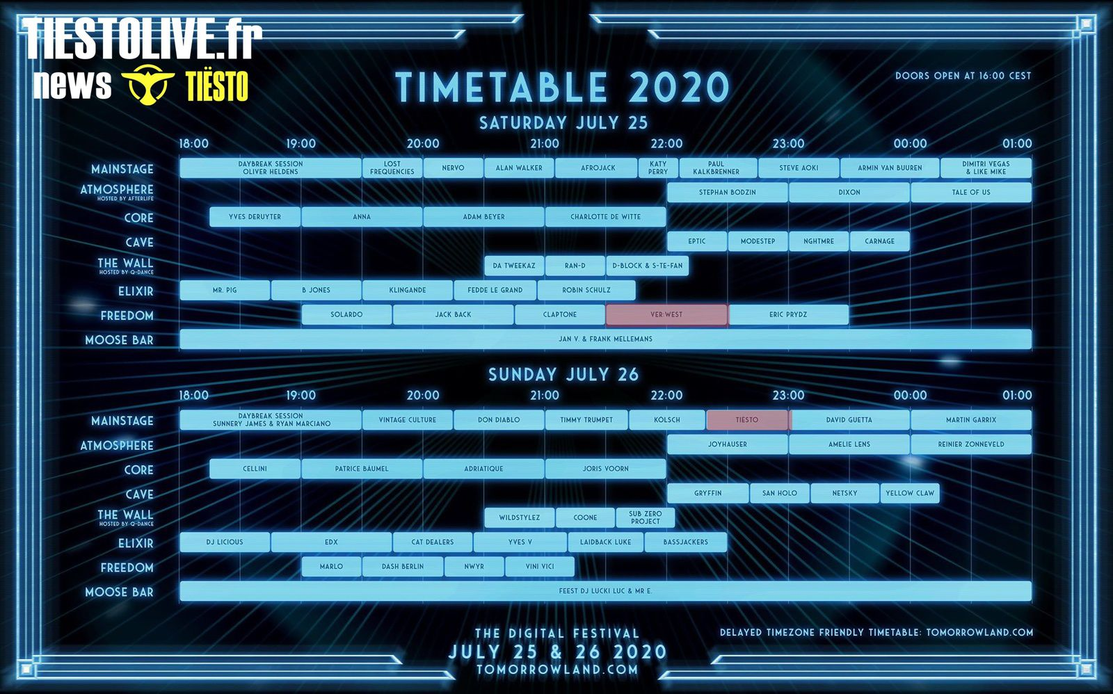 tomorrowland with alias VER:WEST July 25, 2020  and Tiësto july 26, 2020