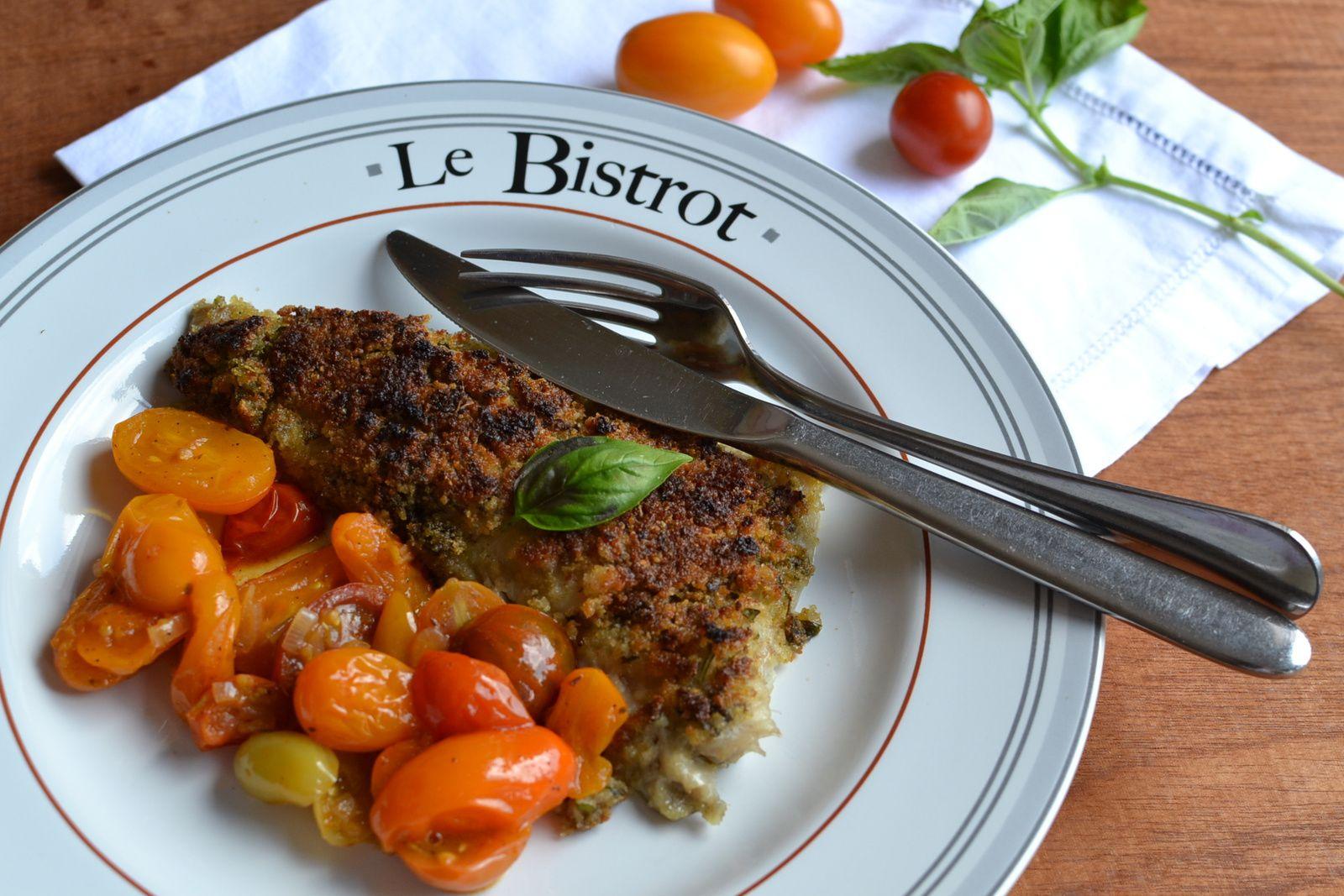 Poisson à la croute de basilic et tomates cerises