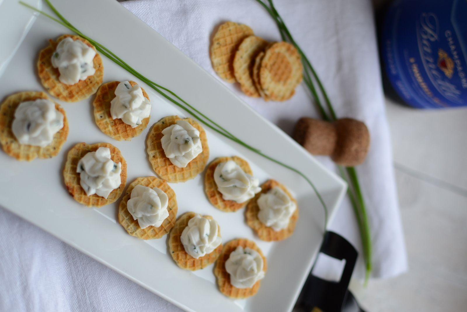 Gaufrettes  roquefort et crème de fromage de chèvre frais #Jours Heureux