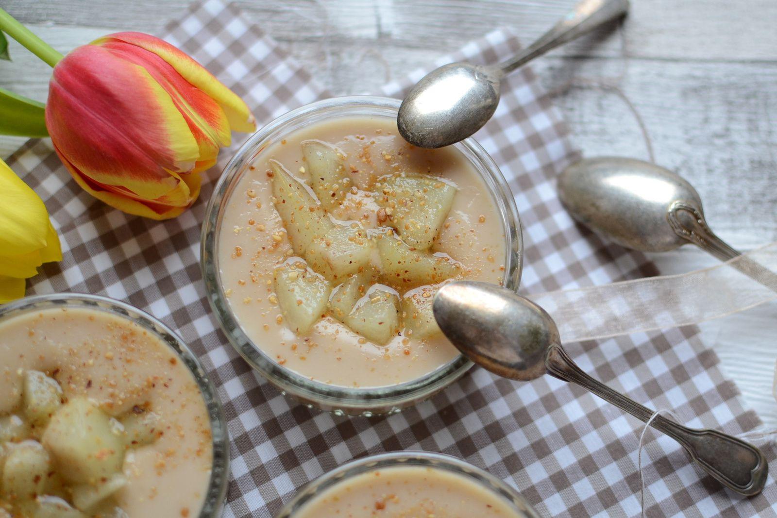 Crème lait d'avoine pralin et dés de poires #sans lactose