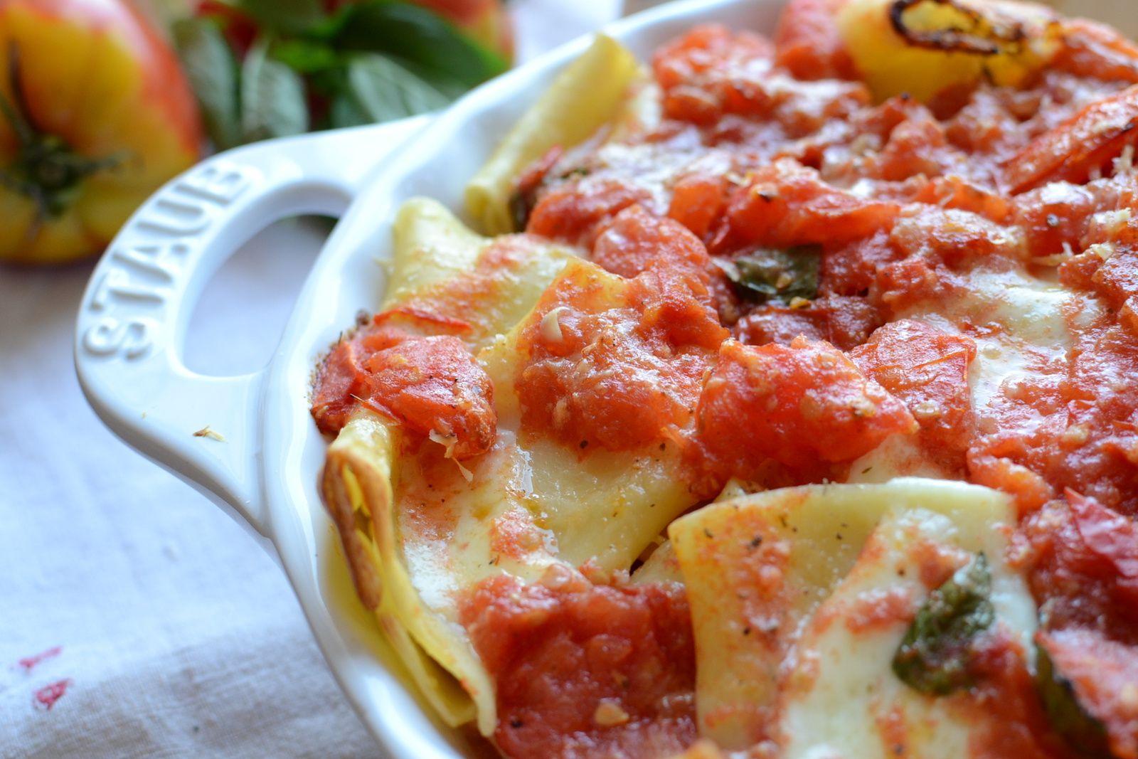 Paccheri alla Sorrentina - Gratin de pâtes à la Sorrentina