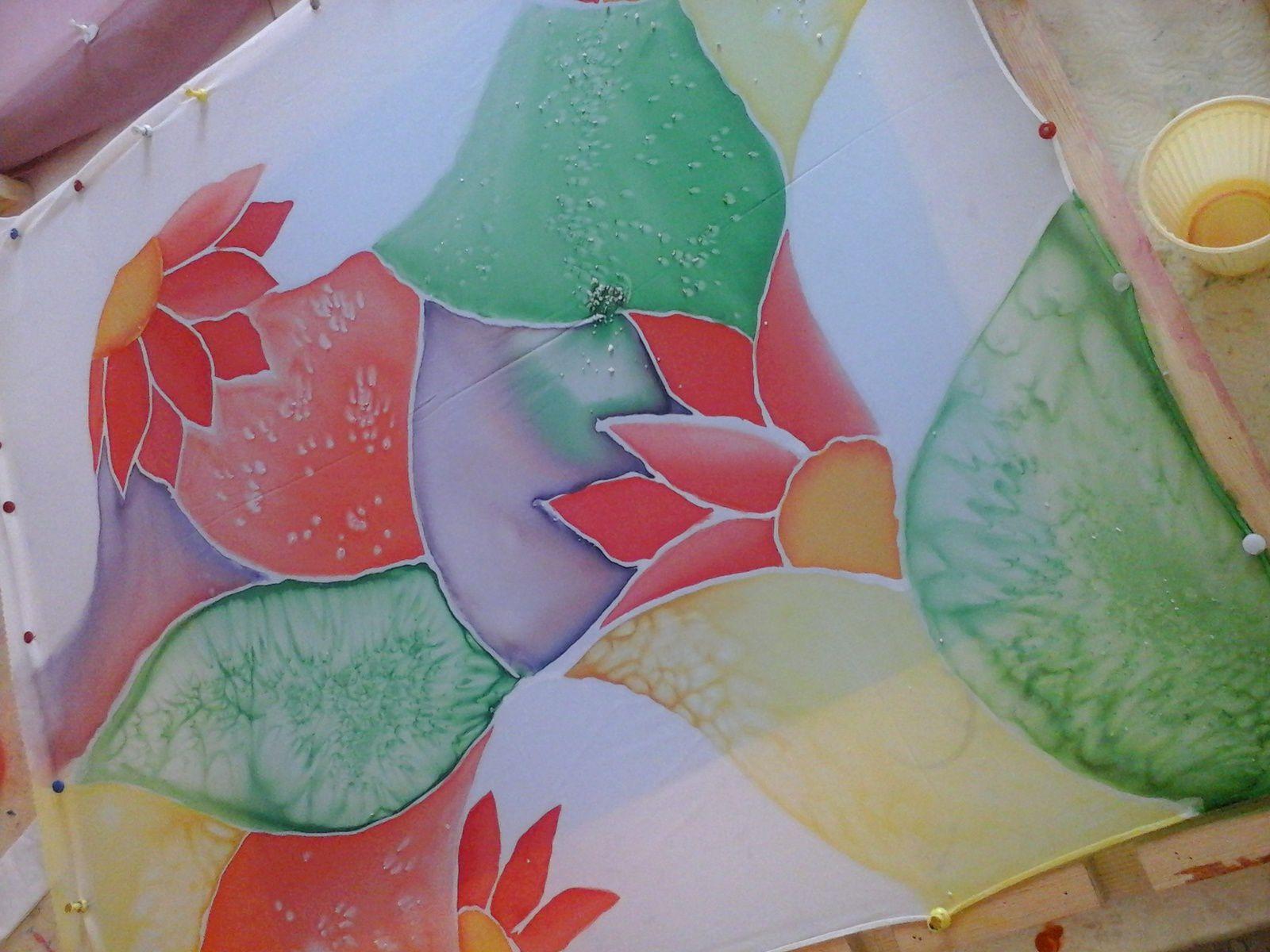 foulard soie  peint a la main
