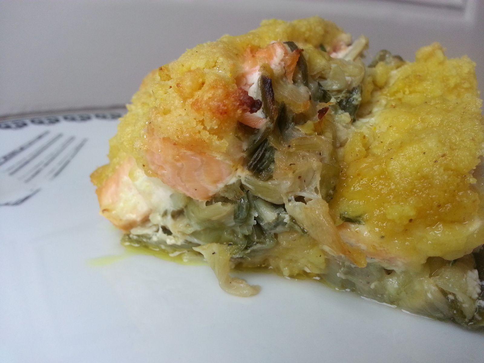 Crumble de saumon aux poireaux