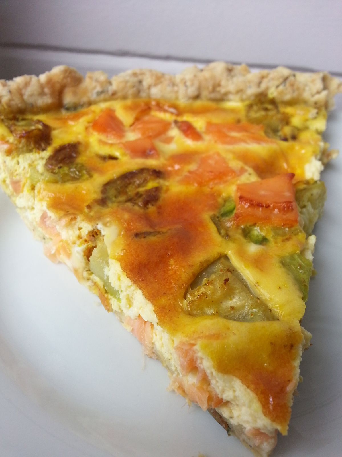 Tarte truite fumée / courgettes / curry