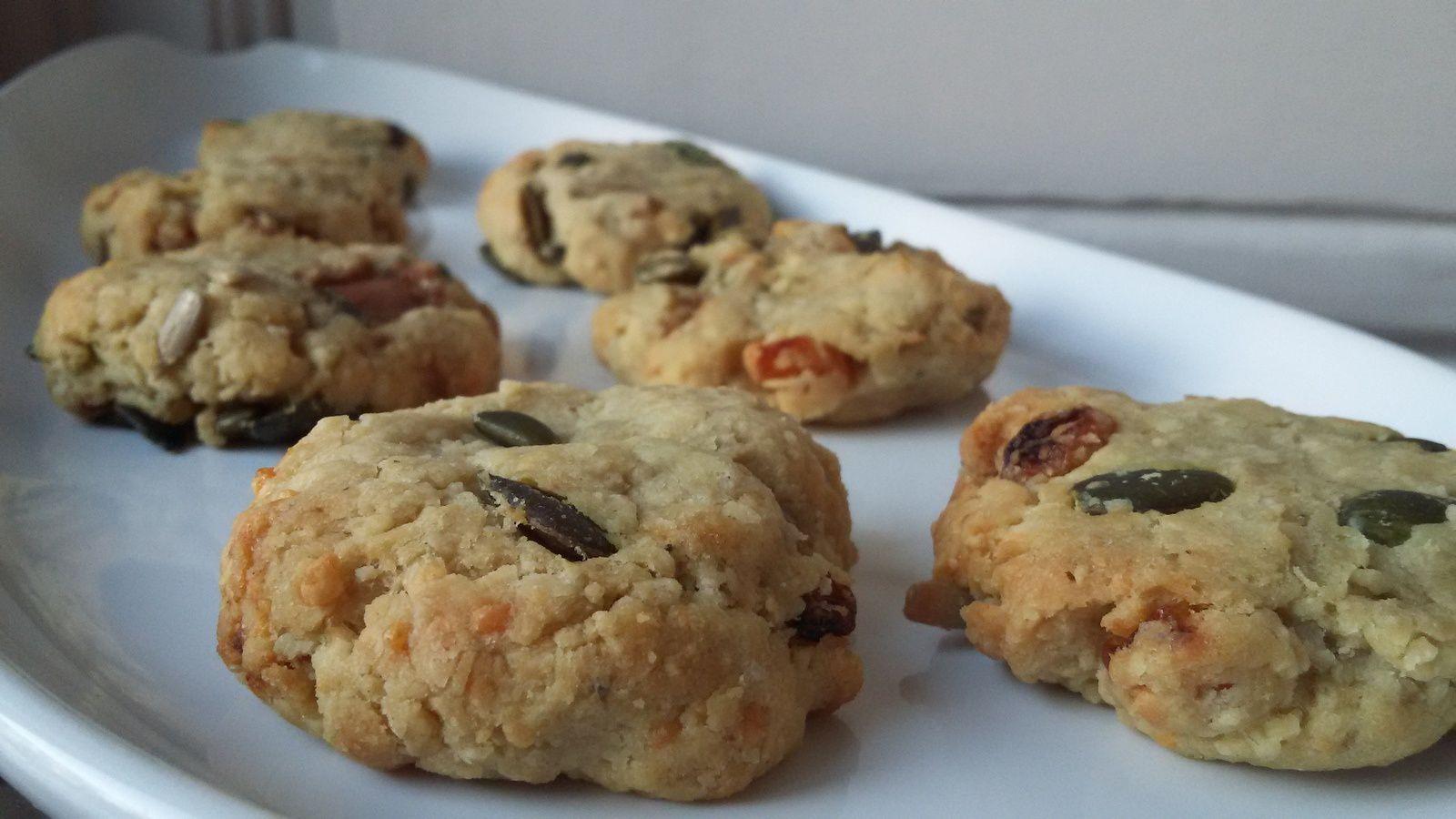 Cookies apéro foie gras / raisins secs / graines de courge