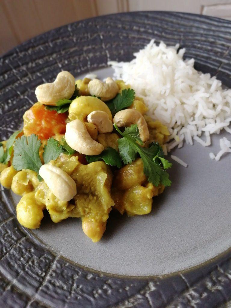 Sauté de veau curry coco / pois chiche et carottes