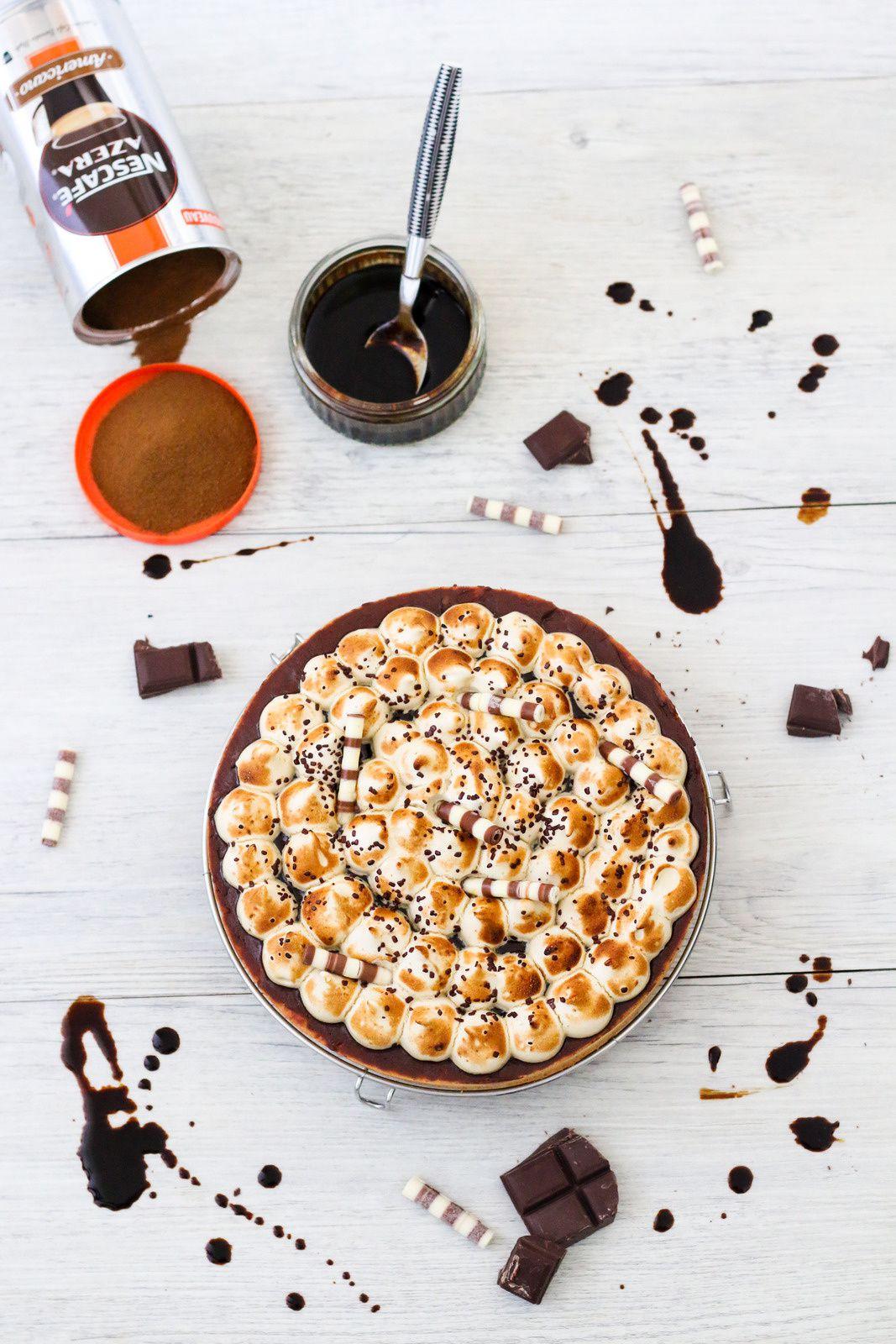 Tarte au chocolat, caramel & meringue italienne au café ( Dégustabox août 2018 )