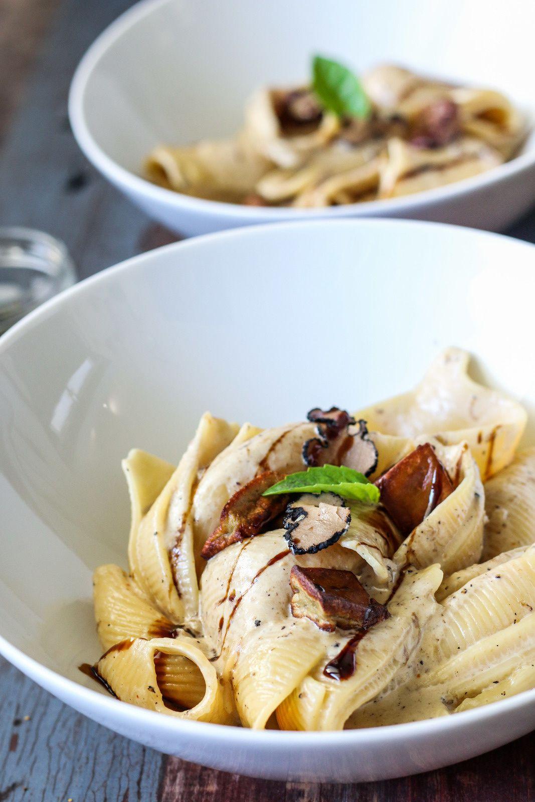 Conchiglionis sauce aux cèpes, truffe et foie gras poêlé