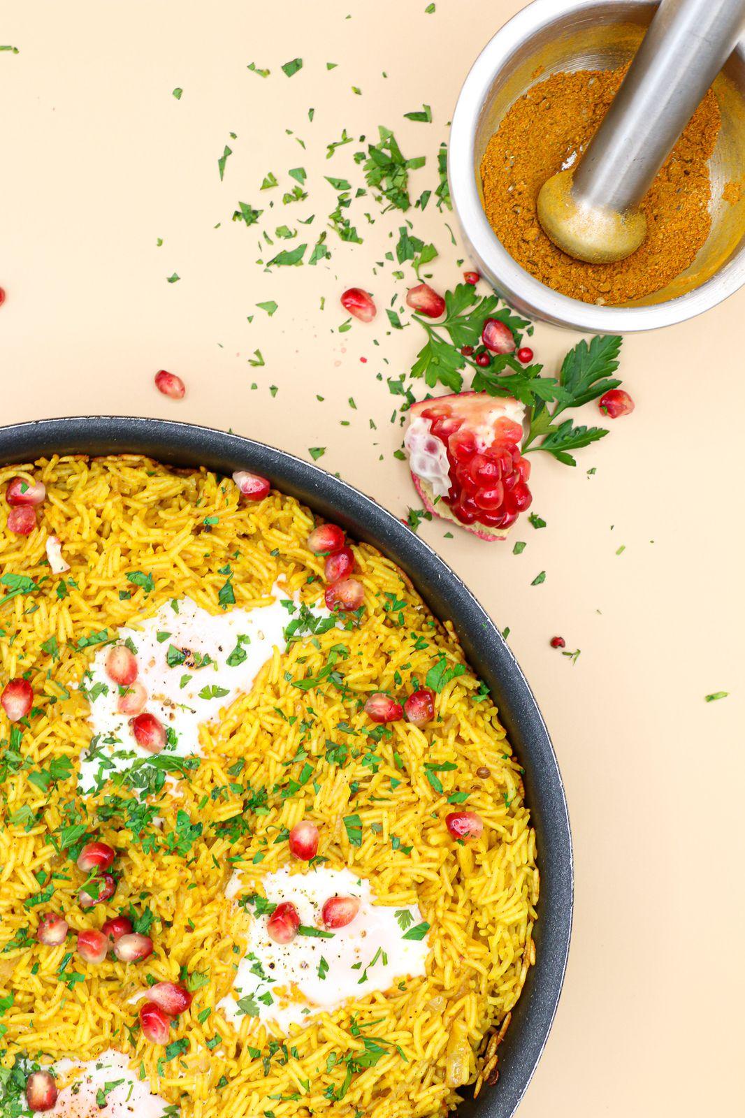 Riz grillé à l'indienne & aux œufs